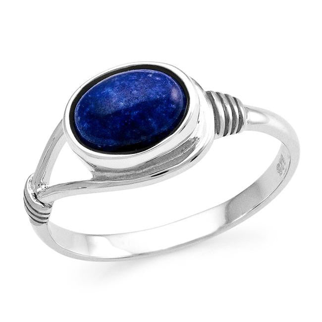 Genuine Lapis Cabochon Ring in Sterling Silver