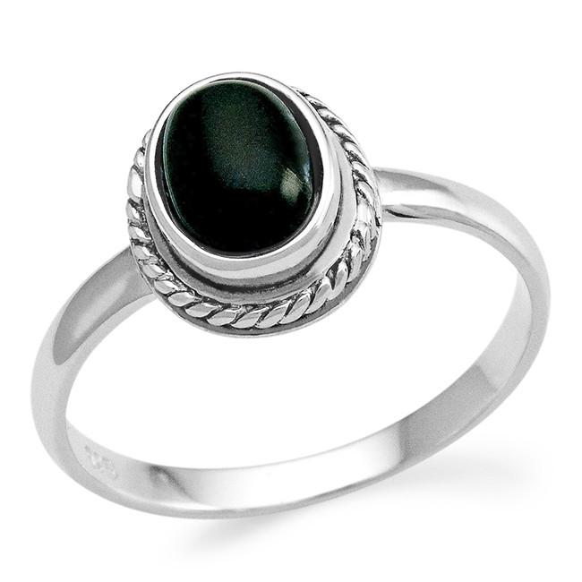 Genuine Black Onyx Cabochon Ring in Sterling Silver
