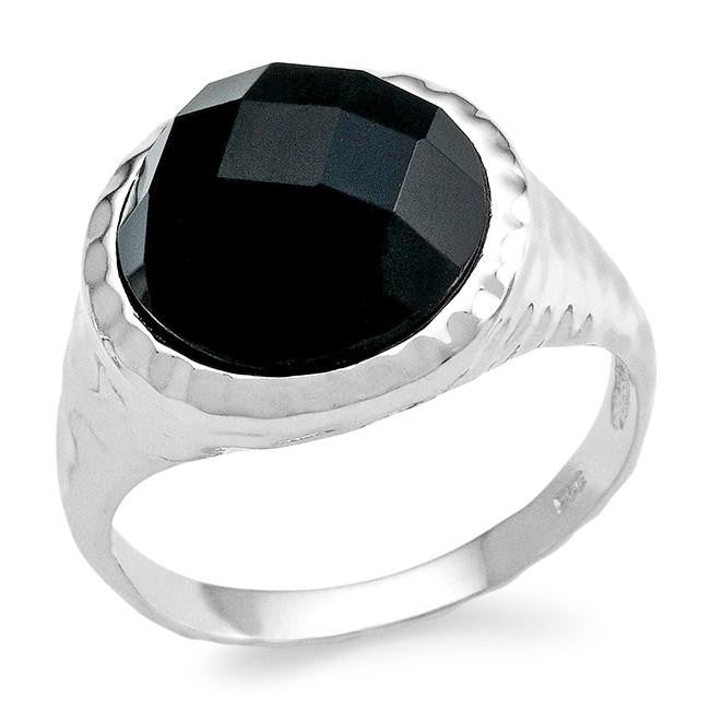 Genuine Black Onyx Checkerboard Ring in Sterling Silver