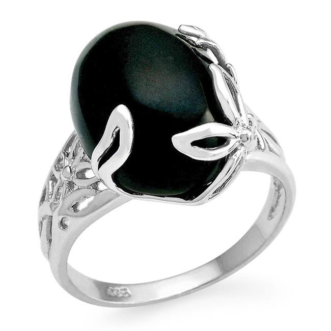 Genuine Black Onyx Ring in Sterling Silver
