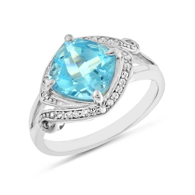 4.50 Carat tw Blue Topaz & Sapphire Ring in Sterling Silver