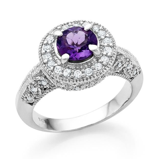 1.75 Carat tw Amethyst & White Sapphire Ring in Sterling Silver