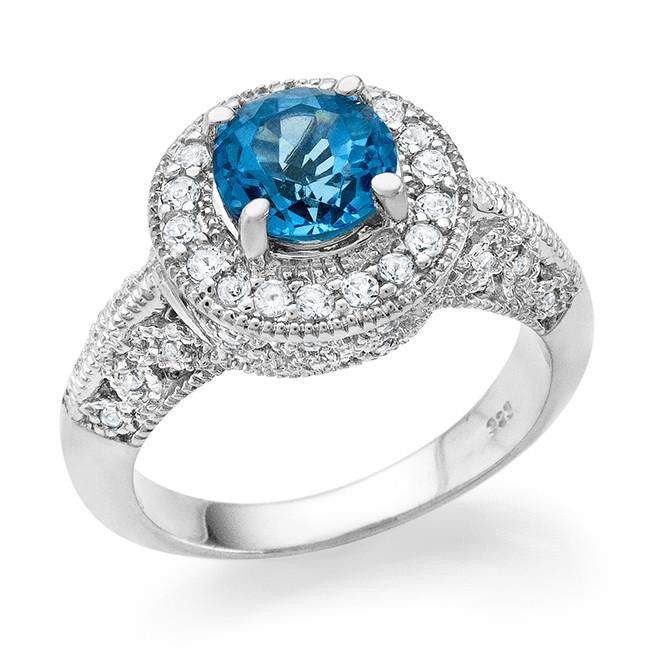 1.75 Carat tw Blue Topaz & White Sapphire Ring in Sterling Silver