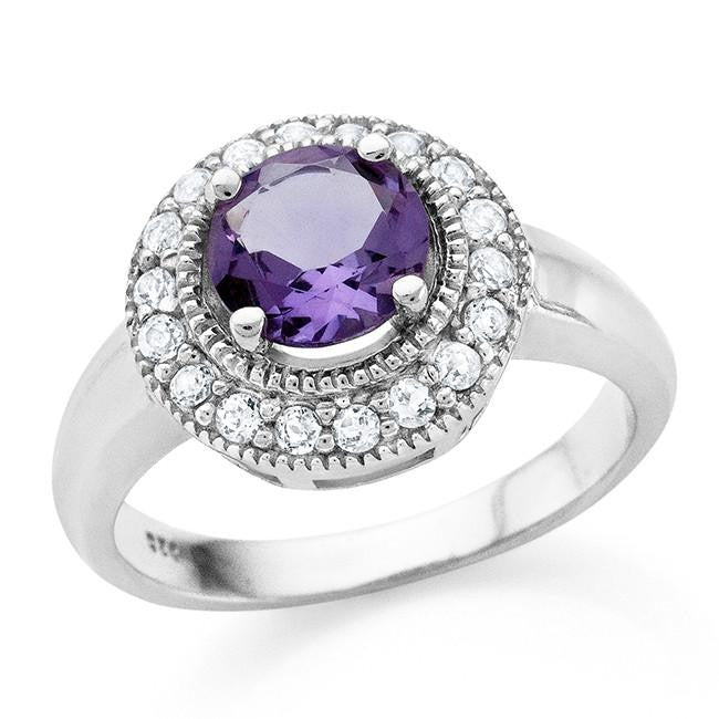 1.70 Carat tw Amethyst & White Sapphire Ring in Sterling Silver