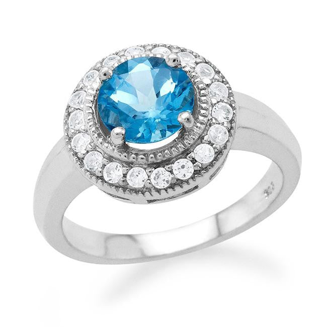 1.70 Carat tw Blue Topaz & White Sapphire Ring in Sterling Silver