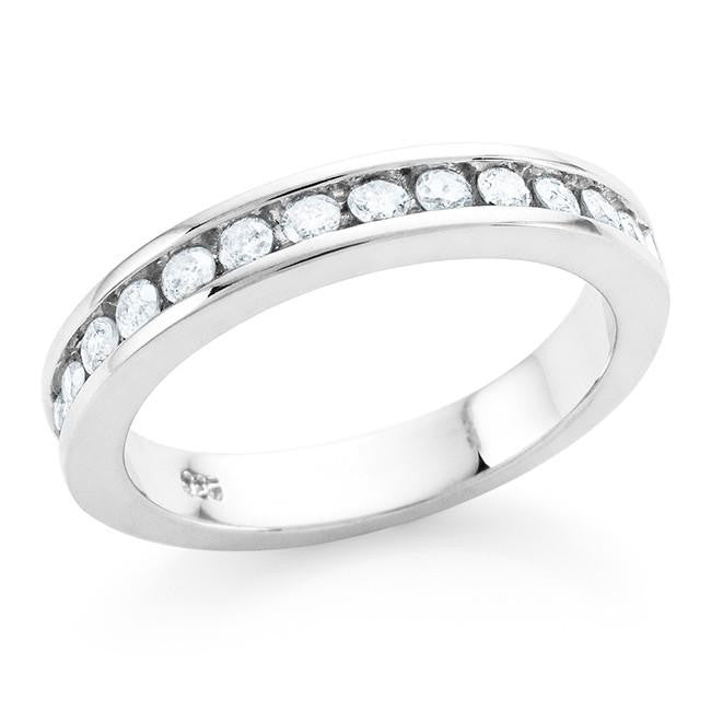 1/2 Carat Channel Setting Diamond Ring in Sterling Silver