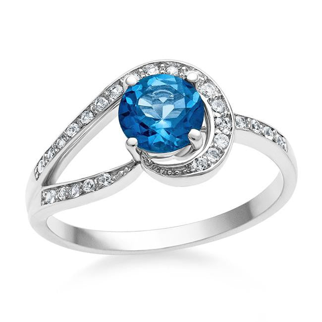 1.25 Carat Blue Topaz & White Sapphire Ring in Sterling Silver