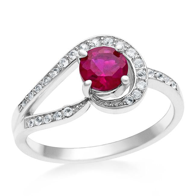 1.25 Carat Ruby & White Sapphire Ring in Sterling Silver
