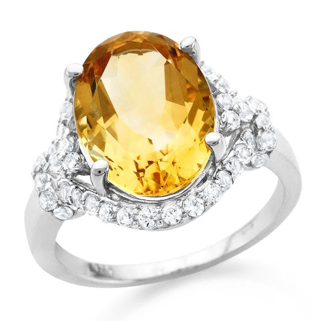 8.75 Carat Oval Citrine & White Sapphire Cocktail Ring in Sterling Silver