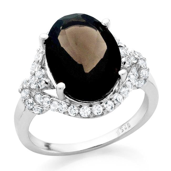 8.75 Carat Oval Smoky Quartz & White Sapphire Cocktail Ring in Sterling Silver