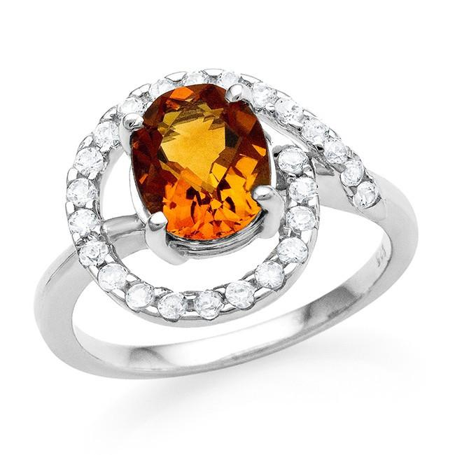 3.65 Carat Oval Citrine & White Sapphire Ring in Sterling Silver