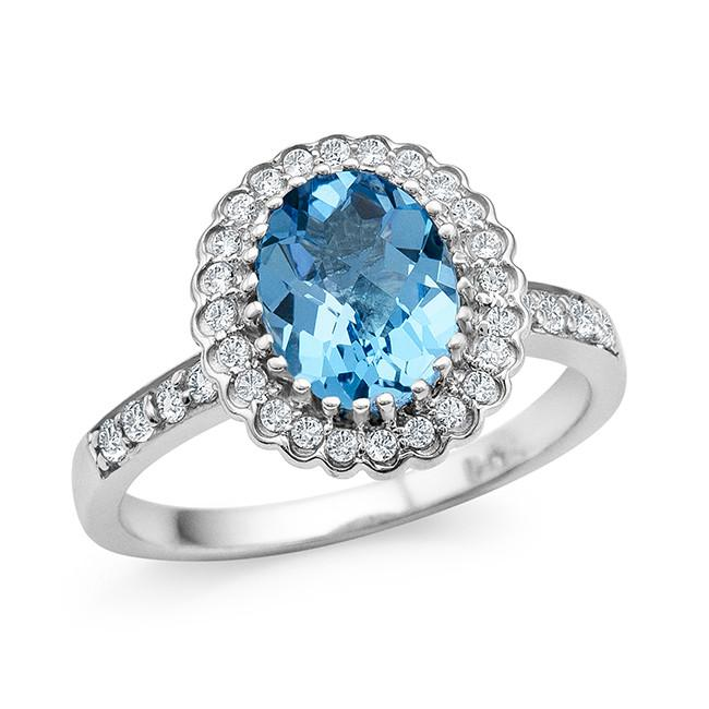 2.20 Carat Oval Cushion Cut Blue Topaz and White Sapphire Ring in Sterling Silver