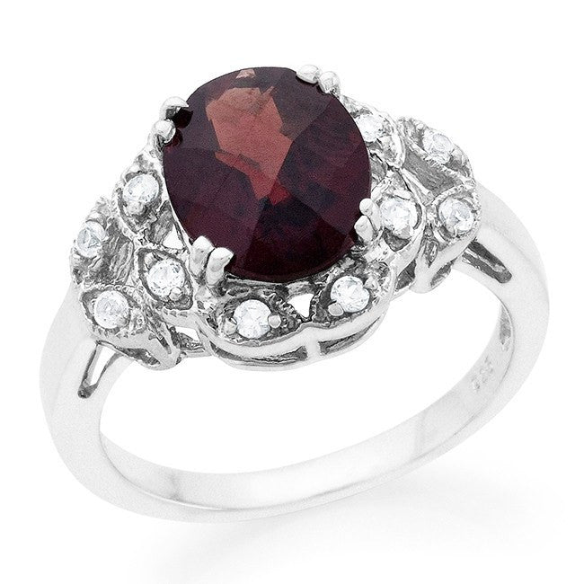 4.00 Carat Oval Garnet & White Sapphire Cocktail Ring in Sterling Silver