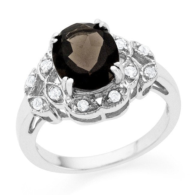 3.33 Carat Oval Smoky Quartz & White Sapphire Cocktail Ring in Sterling Silver
