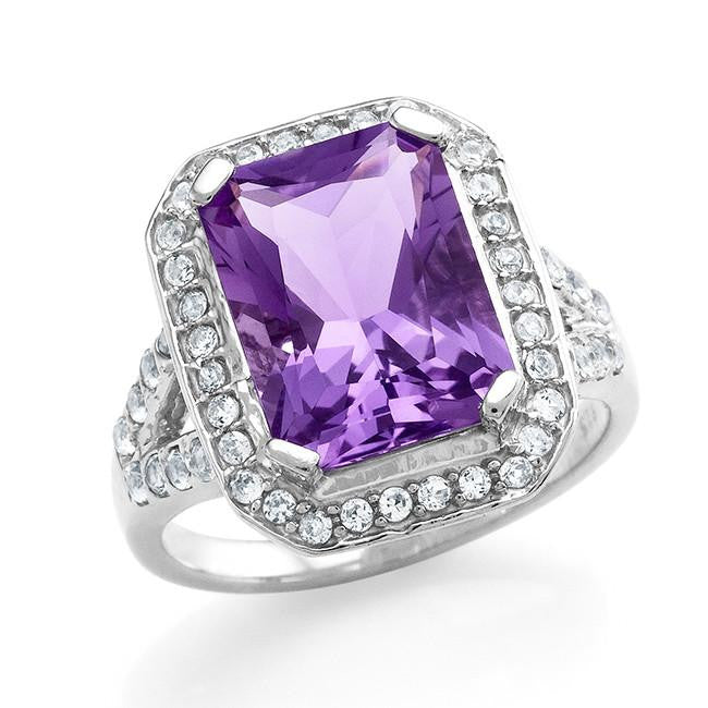 5.20 Carat Genuine Amethyst & Created White Sapphire Cocktail Ring in Sterling Silver