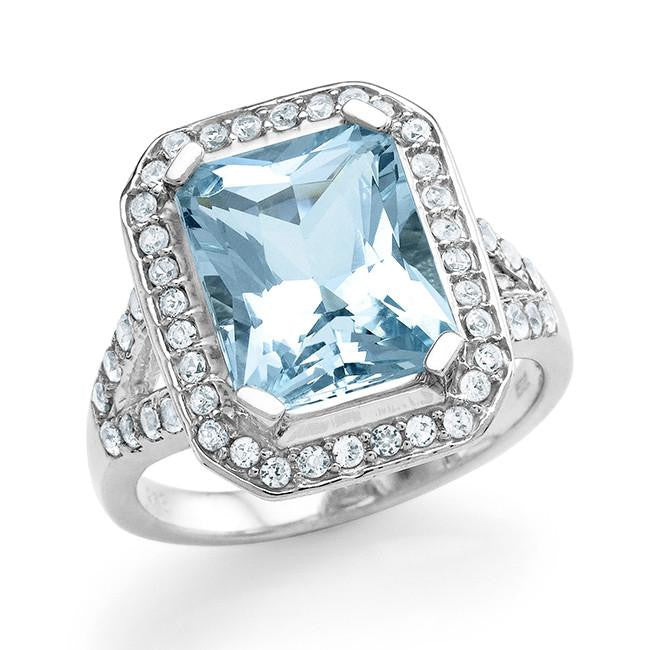 5.40 Carat Genuine Aquamarine & Created White Sapphire Cocktail Ring in Sterling Silver