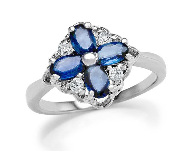 1.50 Carat Genuine Blue Sapphire & White Topaz Cocktail Ring in Sterling Silver