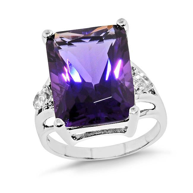 12.05 Carat Amethyst & White Sapphire Ring in Sterling Silver