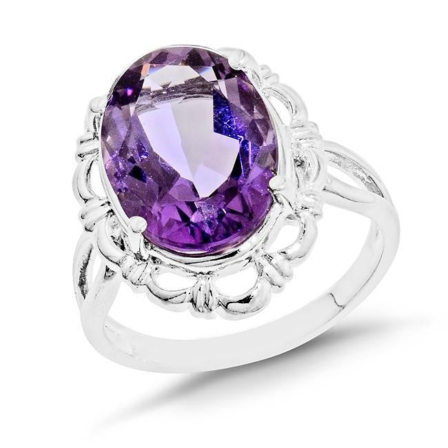 5.40 Carat Oval Amethyst Cocktail Ring in Sterling Silver