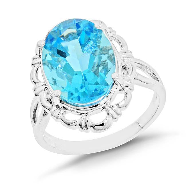 7.75 Carat Oval Blue Topaz Cocktail Ring in Sterling Silver