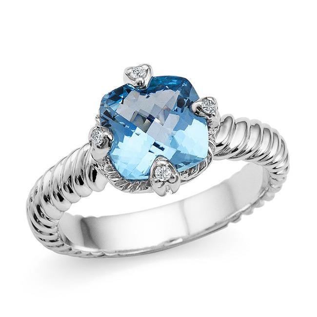 3.00 Carat Cushion Cut Blue Topaz and Whte Sapphire Ring in Sterling Silver