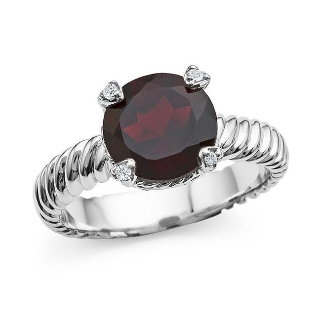 2.80 Carat Round Garnet and White Sapphire Ring in Sterling Silver