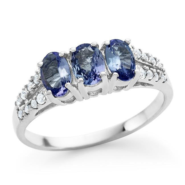 2.10 Carat Genuine Oval 3-Stone Tanzanite Ring in Sterling Silver