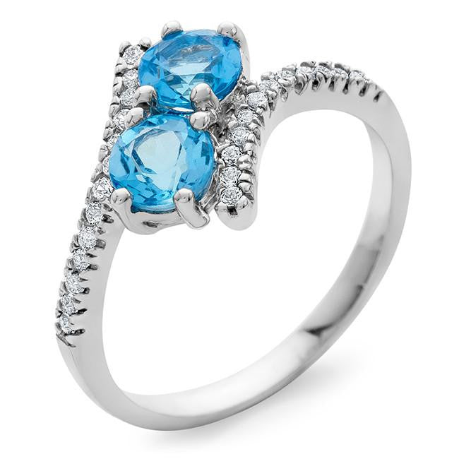 1.20 Carat Blue Topaz & White Sapphire Bypass Ring in Sterling Silver