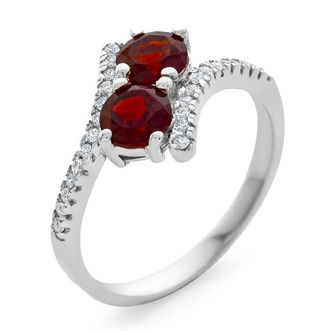 1.20 Carat Garnet & White Sapphire Bypass Ring in Sterling Silver