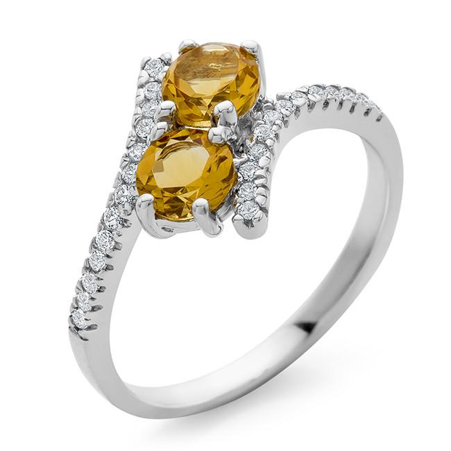 1.20 Carat Citrine & White Sapphire Bypass Ring in Sterling Silver