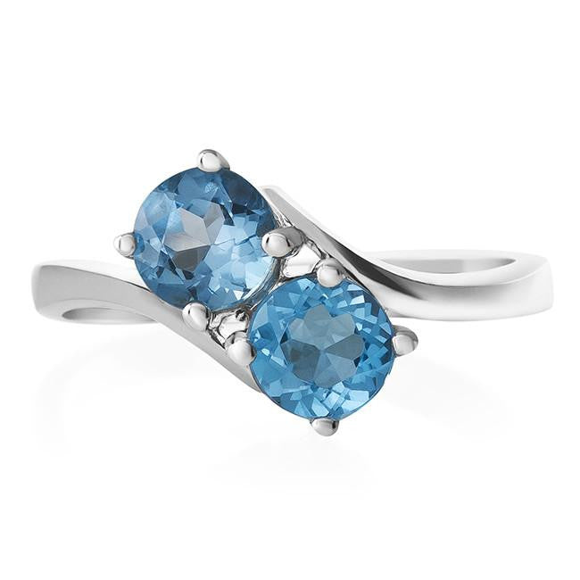 1.00 Carat Blue Topaz Two-Stone Ring in Sterling Silver