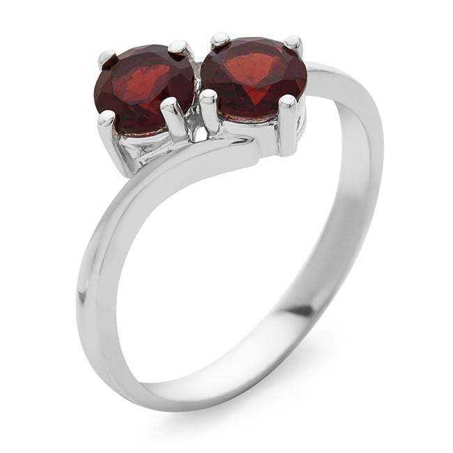 1.00 Carat Garnet Bypass Ring in Sterling Silver
