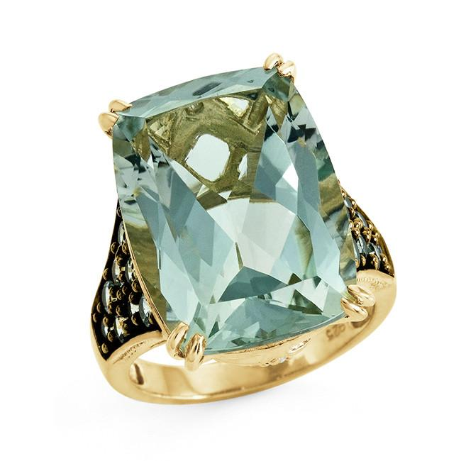 14.50 Carat Genuine Green Amethyst, Green Sapphire & White Topaz Ring in Sterling Silver