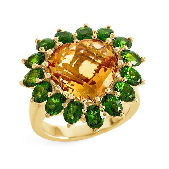8.40 Carat Genuine Citrine & Chrome Diopside Heart Ring in Gold-Plated Sterling Silver