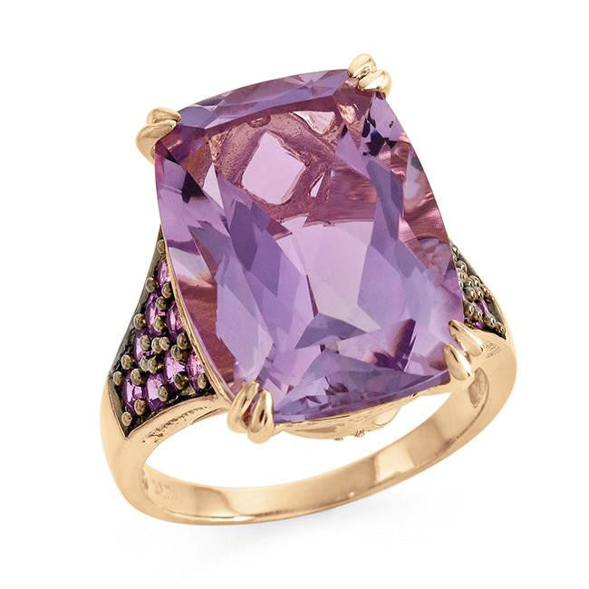 14.50 Carat Genuine Amethyst, Pink Sapphire & White Topaz Ring in Gold-Plated Sterling Silver