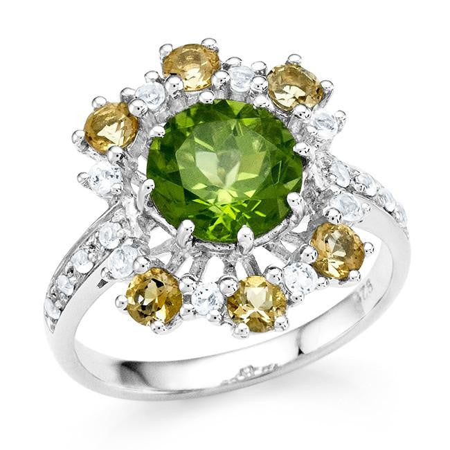 3.00 Carat Genuine Peridot & Citrine Ring in Sterling Silver