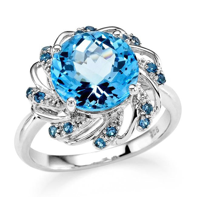 4.75 Carat Genuine Blue Topaz Circle Ring in Sterling Silver