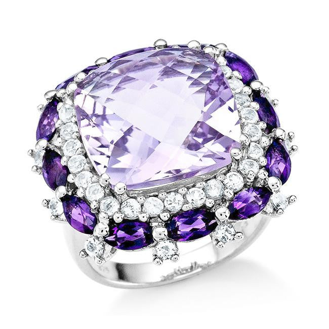 11.80 Carat Genuine Pink Amethyst Cocktaill Ring in Sterling Silver