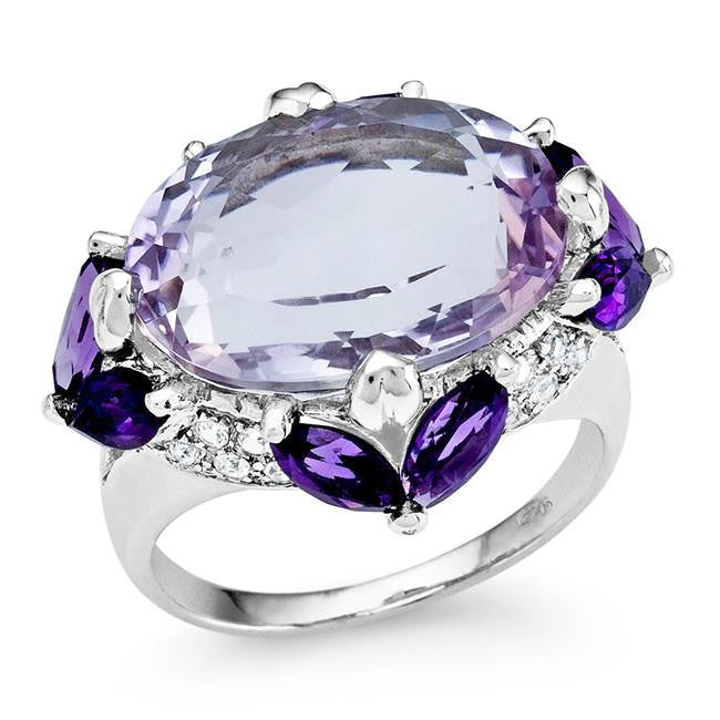 10.80 Carat Genuine Pink Amethyst Cocktail Ring in Sterling Silver