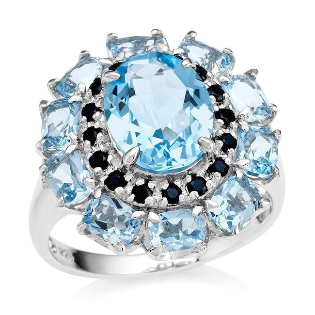 5.10 Carat Genuine Blue Topaz & Black Spinel Ring in Sterling Silver