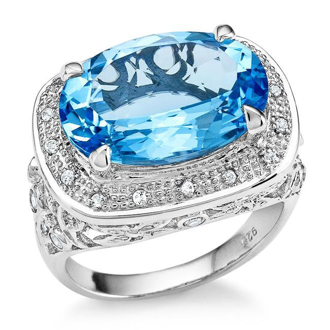 10.50 Carat Genuine Blue Topaz Cocktail Ring in Sterling Silver
