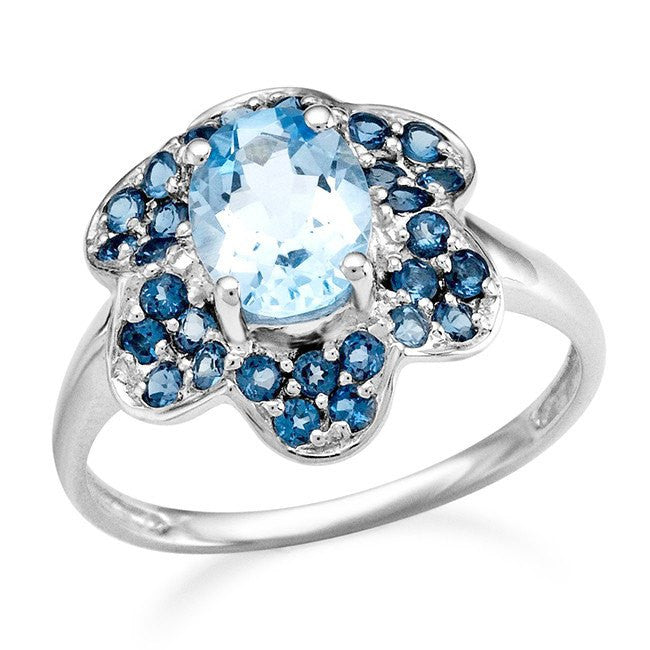 2.00 Carat Genuine Blue Topaz & London Blue Topaz Flower Ring in Sterling Silver