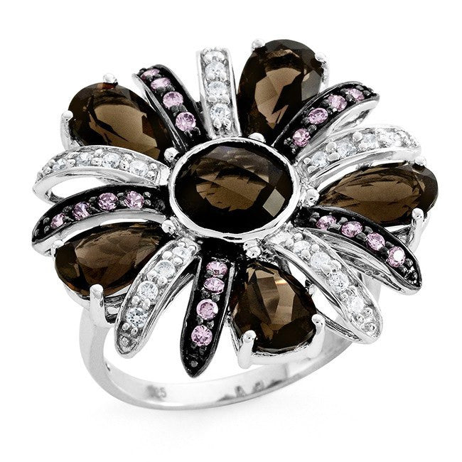 5.80 Carat Genuine Smoky Quartz & Cubic Zirconia Flower Ring in Sterling Silver