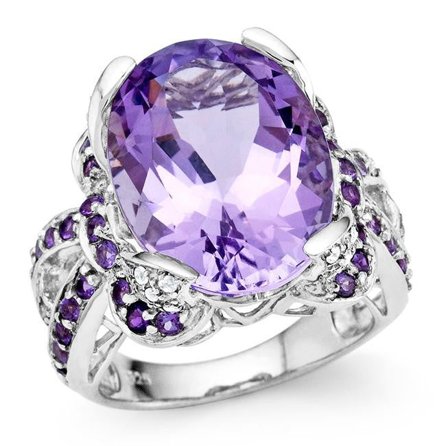 12.70 Carat Genuine Pink Amethyst Cocktail Ring in Sterling Silver