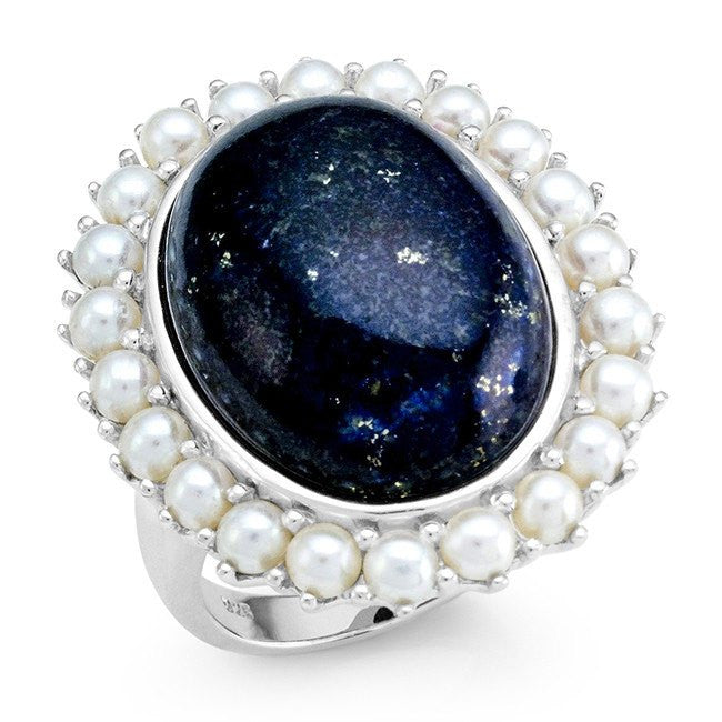 24.45 Carat Genuine Lapis & Freshwater Pearl Cocktail Ring in Sterling Silver