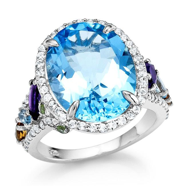 12.00 Carat Genuine Blue Topaz Cocktail Ring in Sterling Silver