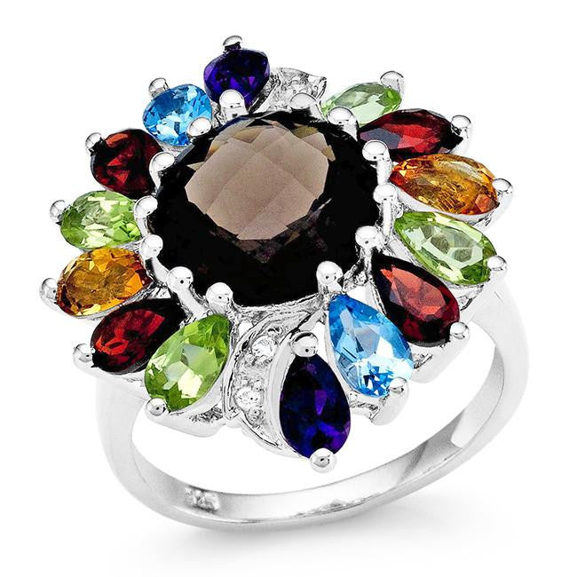 6.25 Carat Genuine Multi-Color Gemstone Ring in Sterling Silver