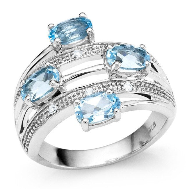 2.30 Carat Genuine Blue Topaz Ring in Sterling Silver