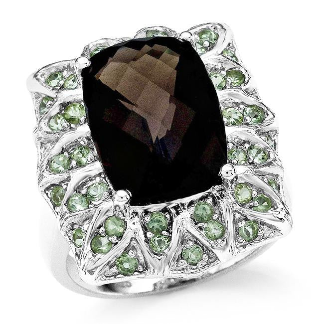 7.05 Carat Genuine Smoky Quartz & Peridot Cocktail Ring in Sterling Silver