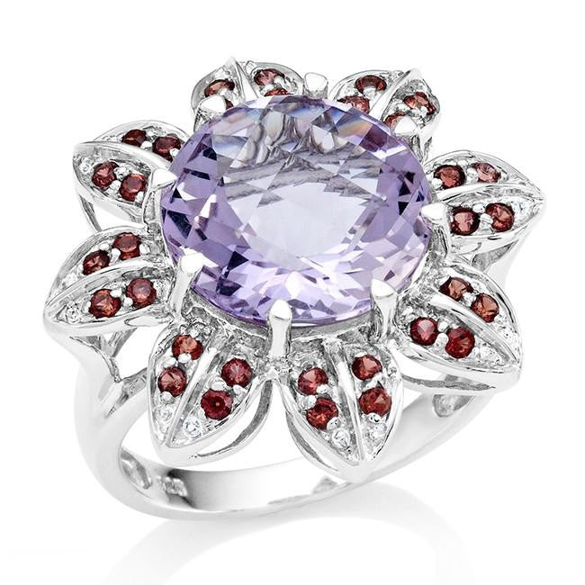 5.75 Carat Genuine Pink Amethyst & Garnet Flower Ring in Sterling Silver
